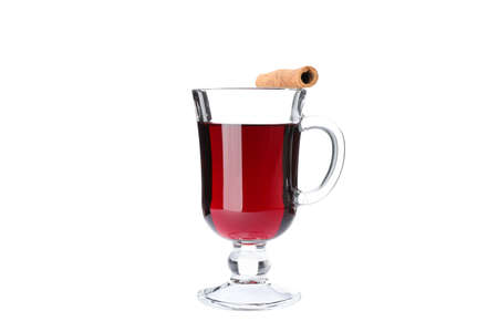 Glass of tasty mulled wine isolated on white background