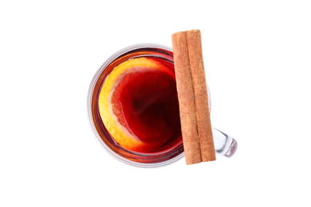 Glass of tasty mulled wine isolated on white background, top view