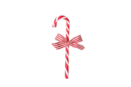 Sweet candy cane with bow isolated on white background Stock Photo