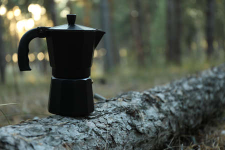 Coffee maker on pine trunk. Beautiful forest, space for text Stockfoto