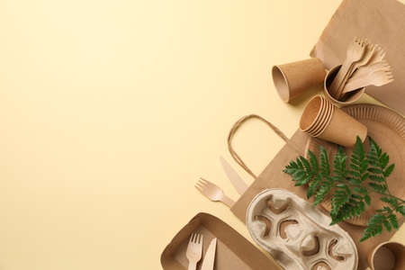 Composition with eco - friendly tableware and plant on beige background, space for text