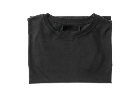 Folded dark gray t-shirt isolated on white background, space for text 版權商用圖片