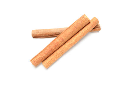 Cinnamon sticks isolated on white background. Sweet spice