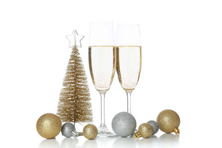 Champagne glasses and baubles isolated on white background 版權商用圖片