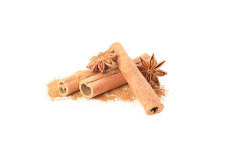 Cinnamon powder, sticks and anise isolated on white background 版權商用圖片