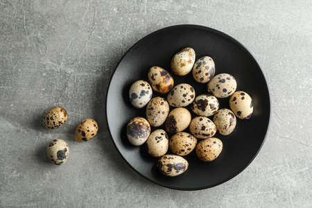 Quail eggs in plate on gray background, space for text