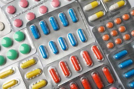 Pillen in Blisterpackungen strukturierter Hintergrund, Ansicht von oben