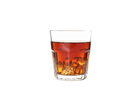 Glass of whiskey with ice cubes isolated on white background Reklamní fotografie