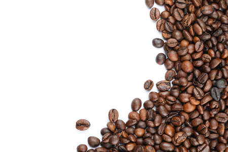 Frame of coffee beans isolated on white background, close up