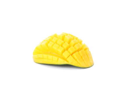 Chopped mango isolated on white background. Juicy fruit