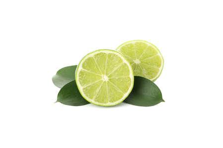 Juicy ripe limes isolated on white background Stock Photo