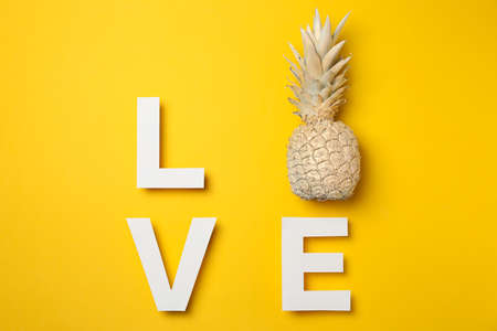 Word Love with painted pineapple on yellow background, space for text