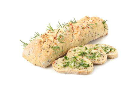 Garlic bread with spices isolated on white background