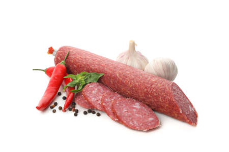Delicious sausage and spices isolated on white background