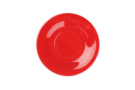 Red clean plate isolated on white background. Kitchen, serving