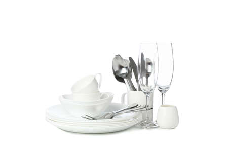 Tableware and cutlery isolated on white background. Kitchen, serving