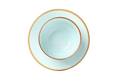 Blue clean plate and bowl isolated on white background. Kitchen, serving