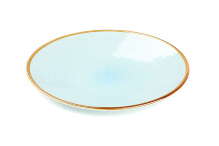 Blue clean plate isolated on white background. Kitchen, serving