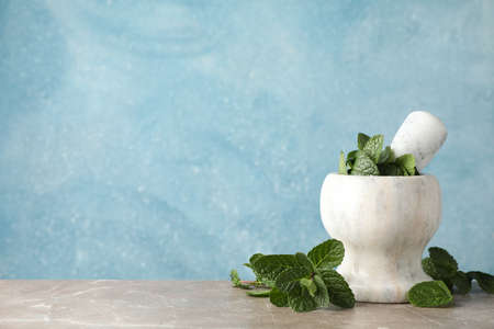 Mortar with mint on grey table, space for text