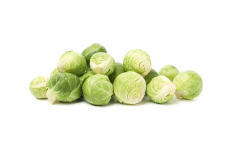 Heap of brussels sprout isolated on white background