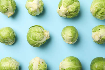 Flat lay with brussels sprout on blue background, top view 版權商用圖片