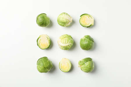 Flat lay with brussels sprout on white background, top view 版權商用圖片