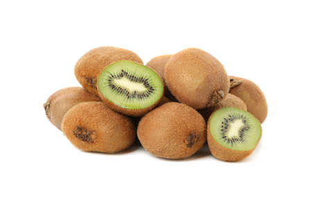 Group of ripe kiwi isolated on white background Banque d'images