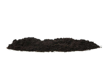 Fertile soil isolated on white background. Agriculture and gardening
