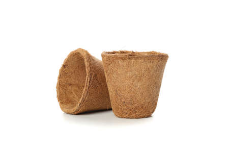Two flower pots isolated on white background
