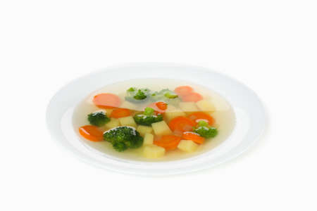 Plate with soup isolated on white background