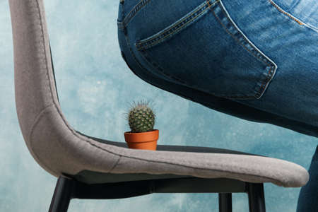 Man sit on a chair with cactus. Hemorrhoids Archivio Fotografico