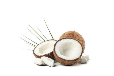 Groupe de noix de coco isolé sur fond blanc. Fruit exotique Banque d'images