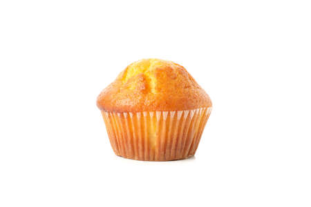 Delicious tasty muffin isolated on white background