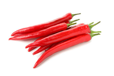 Tasty red chilli peppers isolated on white background Zdjęcie Seryjne