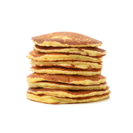 Tasty pancakes isolated on white background. Sweet breakfast Banque d'images