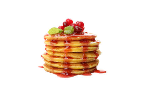 Pancakes with jam and cranberry isolated on white background Banque d'images