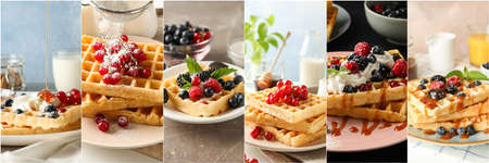 Food collage of tasty belgian waffles with berries. Delicious dessert