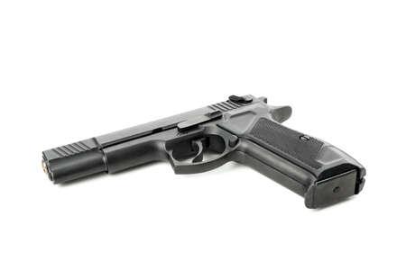 Black traumatic gun isolated on white background