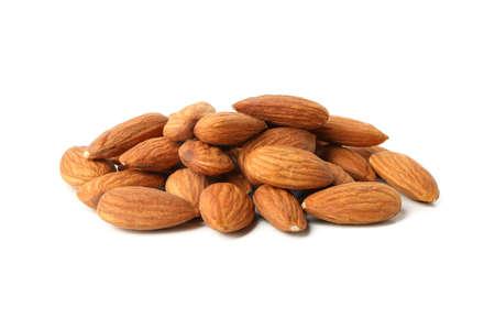 Tasty almond isolated on white background. Vitamin food Stock Photo
