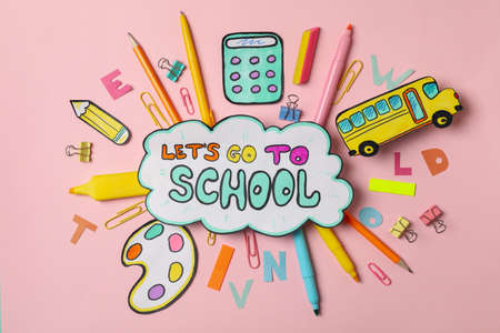 Text Let's go to school and school supplies on pink background