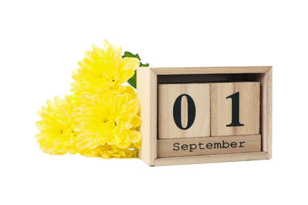 Ð¡hrysanthemums and wooden calendar with date September 1 isolated on white background