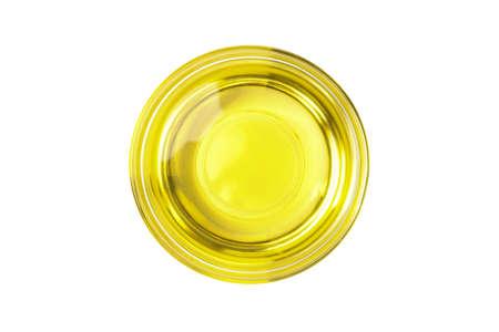 Bowl of sunflower oil isolated on white background Imagens