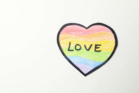 LGBT heart with text Love on white background