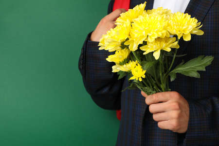 Schoolboy with backpack and chrysanthemums on green background Imagens
