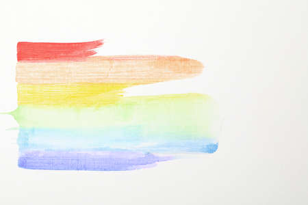 Picture of LGBT rainbow made of color smears on white background Banque d'images