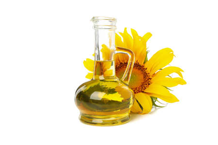 Sunflower, seeds and oil isolated on white background