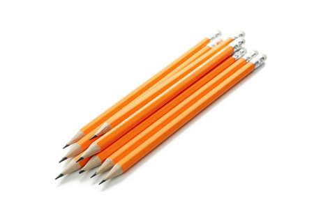 Orange office pencils isolated on white background