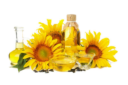 Sunflower and oil isolated on white background