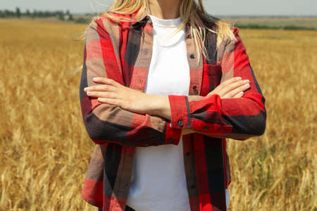Young woman in barley field. Agricultureure business