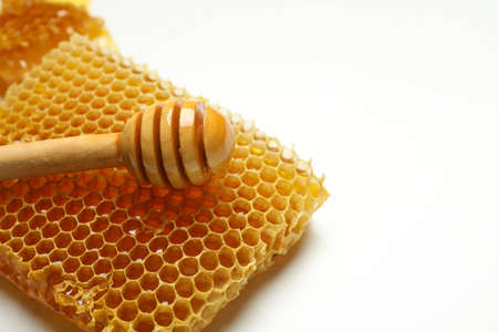 Honeycomb and dipper on white background, space for text 版權商用圖片